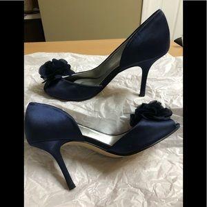 Caparros Navy Blue Satin Leather Heels 8